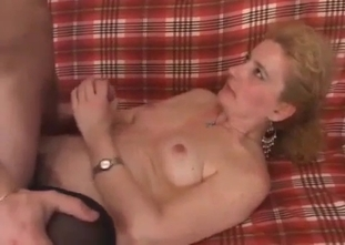 Mom in black stockings gets nailed in missionary pose
