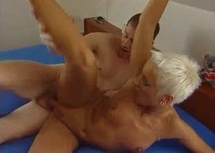 Short-haired stepsister nicely jumps on her brother