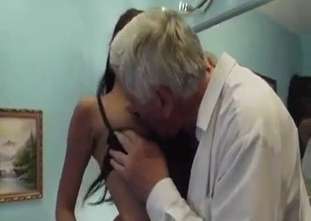 Filthy grandfather orally drills his sexy granddaughter