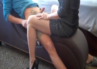 Mom in pink panties is sitting on my boner