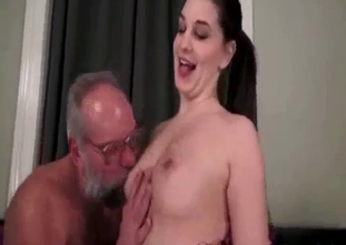 Nasty grandfather licks his naked granddaughter