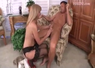 High-heeled sister sucks my prick like a professional
