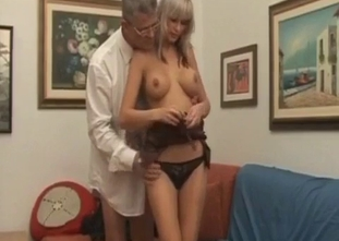 Fake-boobed daughter gives a head for her dad