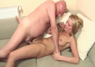 Golden granddaughter sensually sucks her grandpa