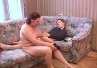 Real mother gives her son a deep blowjob